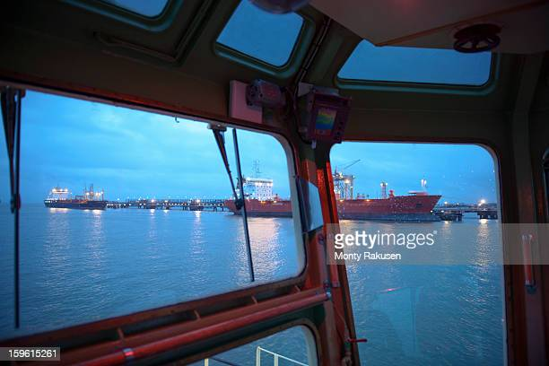 View of tankers out to sea from tug