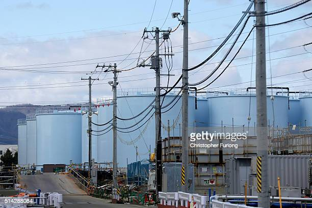 A view of tanks holding radiation contaminated water at the Tokyo Electric Power Co's embattled Fukushima Daiichi nuclear power plant on February 25...