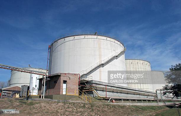 View of tanks of biodiesel and soy oil at Luis Dreyfus industrial complex in Genaral Lagos Santa Fe province Argentina on September 4 2013 AFP PHOTO...