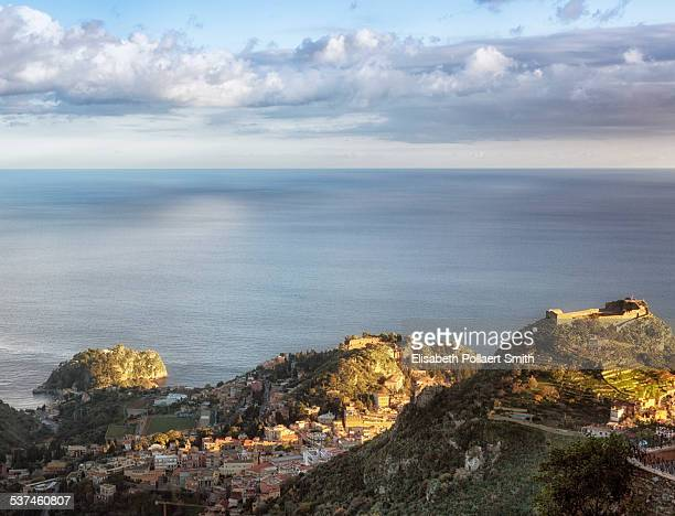 view of taormina - castelmola stock pictures, royalty-free photos & images