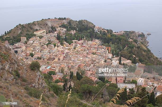 CONTENT] View of Taormina town from the top of the hill