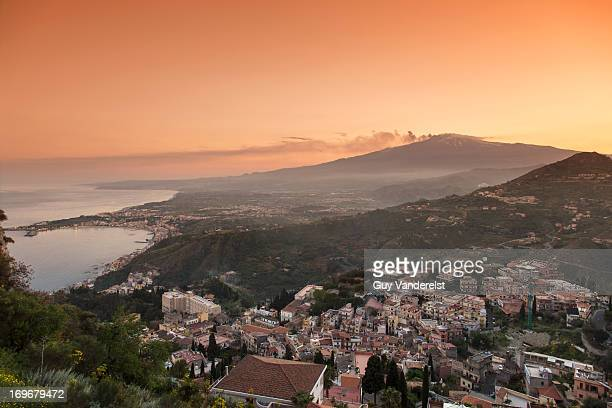 View of Taormina with houses in landscape