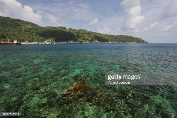 view of tarempa city, anambas islands, riau islands, indonesia. the best tropical island in asia that is rarely visited. - riau images stockfoto's en -beelden