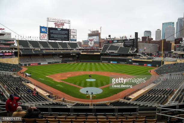 View of Target Field after a postponement was announced for the game between the Boston Red Sox and Minnesota Twins at Target Field on April 12, 2021...
