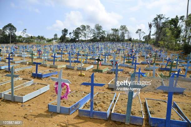View of Taruman Park Cemetery used to bury coronavirus victims is seen as death toll rises due to the pandemic in Manaus, Amazonas, Brazil on October...