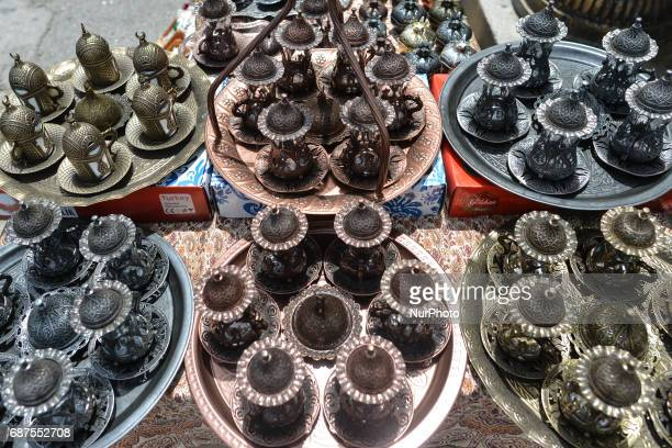 View of tea sets, localy made artisan products on display, in Baku's Old Town. On Monday, May 22, 2017 in Baku, Azerbaijan.