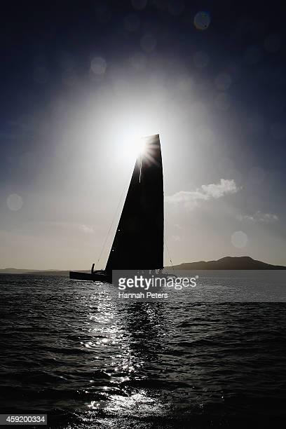 A view of Team Vodafone Sailing trimaran which is being remotely control by America's Cup skipper Jimmy Spithill as it races against a challenger...