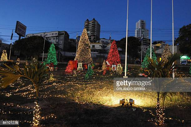 View of Tegucigalpa adorned with Christmas lights on December 20 2008 Hondurans are preparing to celebrate Christmas and New Year AFP PHOTO/Orlando...