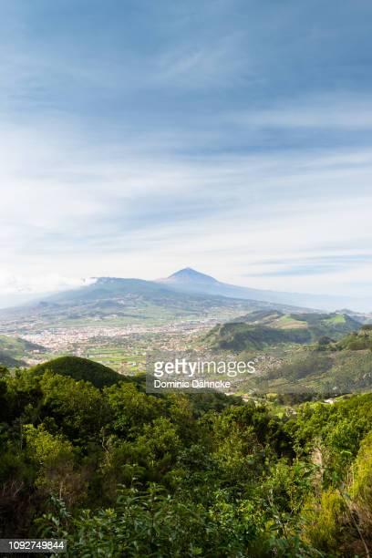 View of Teide's peak and San Cristóbal de La Laguna city, in Tenerife island (Canary Islands. Spain)