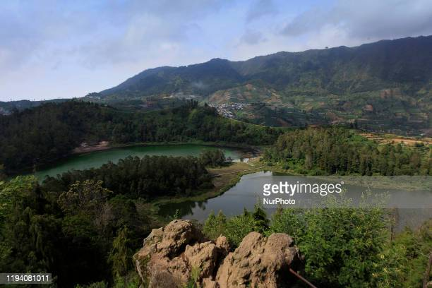 View of Telaga Warna, a popular tourist attraction in the Dieng Plateau region, Wonosobo Regency, Central Java, on January 13, 2020. This lake has a...