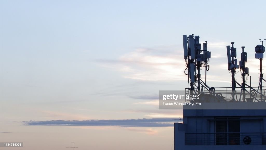 View Of Telecommunications Equipment Against Sky : Stock Photo