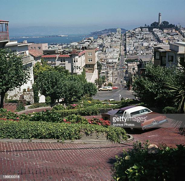 A view of Telegraph Hill with Coit Tower at top right San Francisco California circa 1975
