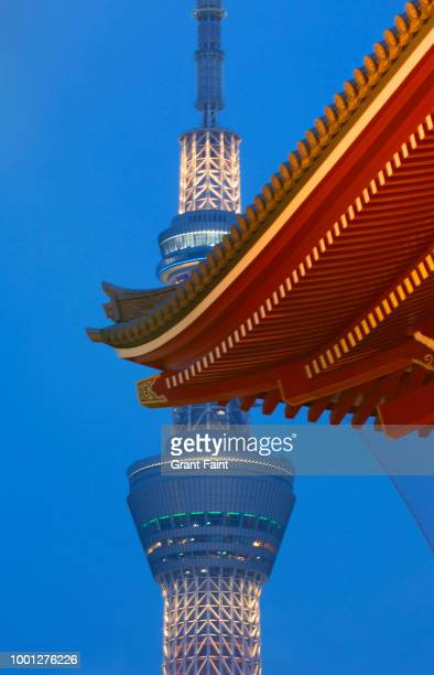 view of television tower and partial view temple. - pagoda stock pictures, royalty-free photos & images