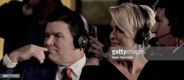 View of televison journalist Megyn Kelly, of the Fox Network, as she reports from the Republican National Convention , Cleveland, Ohio, July 21,...