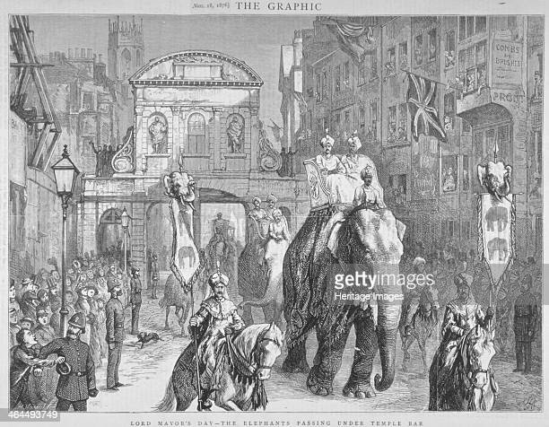 View of Temple Bar during the Lord Mayor's Day City of London 1876 A procession of elephants horses and riders passes by From The Graphic