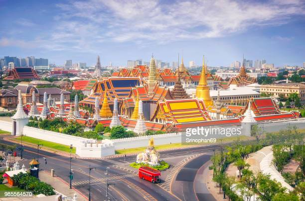 view of temple of the emerald buddha in bangkok, thailand. wat phra kaew is one of the most popular tourists destination in thailand. - sukhothai stockfoto's en -beelden