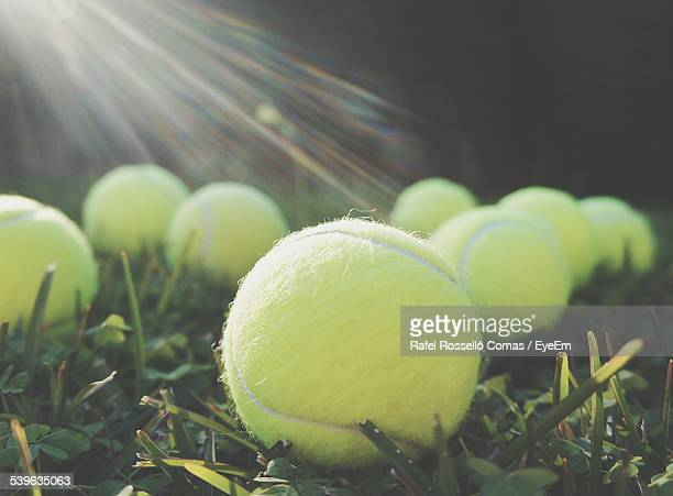 view of tennis balls in grass - tennis ball stock pictures, royalty-free photos & images