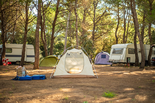View of tent in camp ground. 1064158252