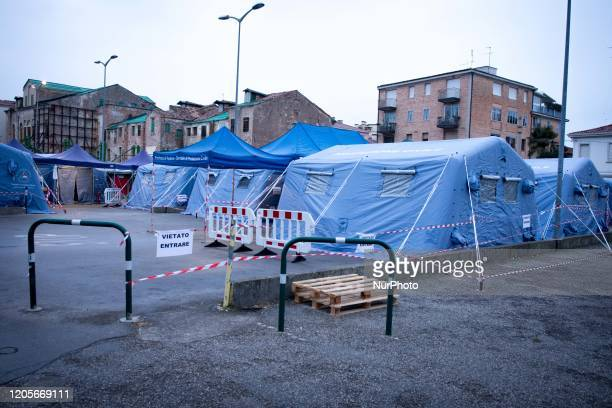 A view of tents near the Padua Hospital that will be used for patients hits by Coronavirus in Padova Italy on March 7 2020 The tents will be used for...