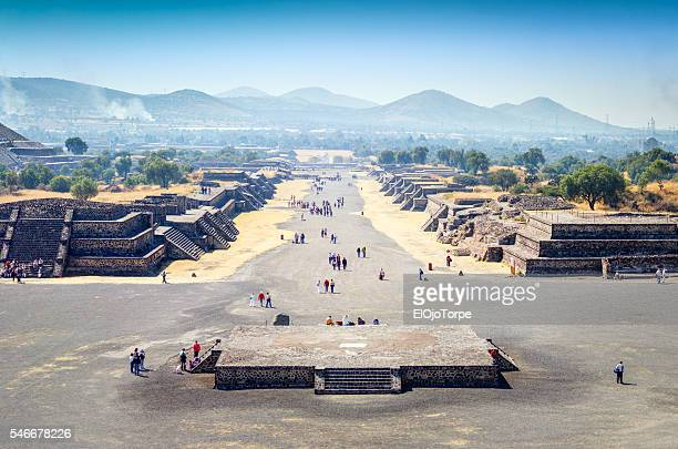 View of Teotihuacan archaeological site, Avenue of the Dead, Mexico