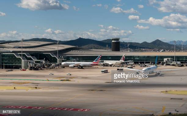 View of Terminal 1 of Barcelona El Prat Airport on September 10 2017 in Barcelona Spain Barcelona El Prat Airport an international airport located 12...