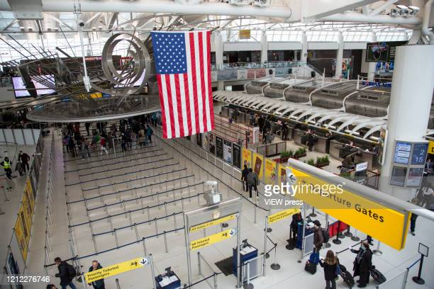 View of Terminal 4 of the John F. Kennedy Airport in New York on March 13, 2020. In New York City. President Donald Trump cancels all flights between...