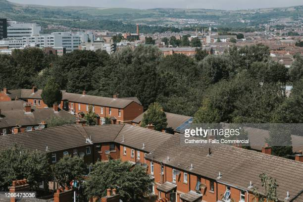 view of terrace houses - belfast stock pictures, royalty-free photos & images