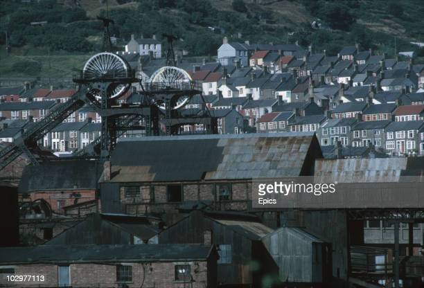 View of terraced housing and the Six Bells Colliery, Gwent September 1969. In June 1960 45 men lost their lives when a gas and coal dust explosion...