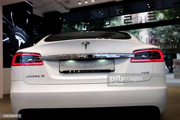 View of Tesla Model S, in Barcelona, Spain, on September 10, 2018.