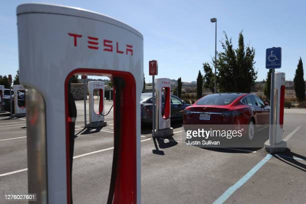 A view of Tesla Superchargers on September 23 2020 in Petaluma California California Gov Gavin Newsom signed an executive order directing the...