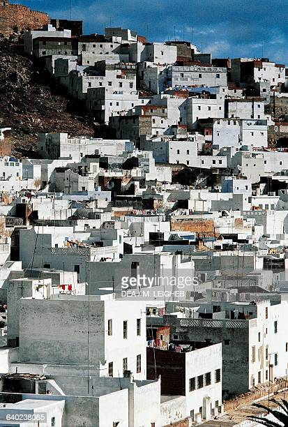 View of Tetouan city with its typical white buildings Morocco