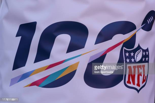 A view of the 100th NFL season logo before an NFL matchup between the Houston Texans and Kansas City Chiefs on October 13 2019 at Arrowhead Stadium...
