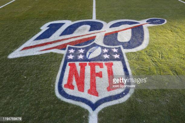 A view of the 100year NFL logo on the field before the AFC Championship game between the Tennessee Titans and Kansas City Chiefs on January 19 2020...