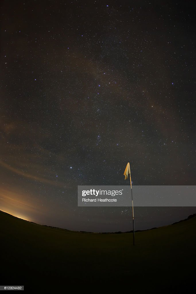 A view of the 10th gren at night during a practise day for the Alfred Dunhill Links Championship at The Old Course on October 3, 2016 in St Andrews, Scotland.