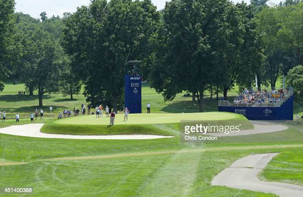 View of the 11th green during the third round of the Constellation SENIOR PLAYERS Championship at Fox Chapel Golf Club on June 28, 2014 in...