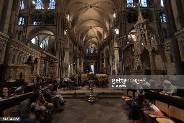 View of the 12century choir of the Canterbury Cathedral Canterbury on July 15 2017 Canterbury Cathedral in Canterbury Kent is one of the oldest and...