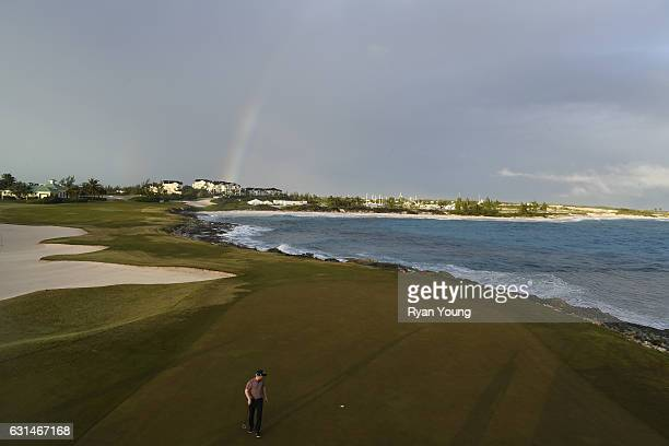 A view of the 12th hole as Anders Albertson lines up his putt during the continuation of the third round of The Bahamas Great Exuma Classic at...