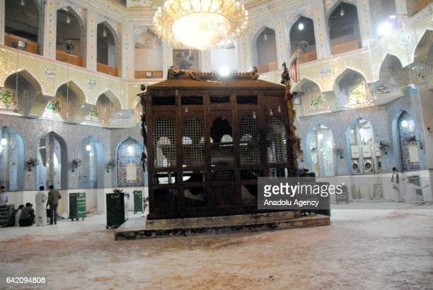A view of the 13th century old shrine of a Muslim saint following a suicide attack in the town of Sehwan in southern Sindh province in Pakistan on...