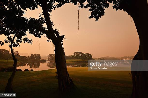 A view of the 14th hole during the second round of the Shenzhen International at Genzon Golf Club on April 17 2015 in Shenzhen China