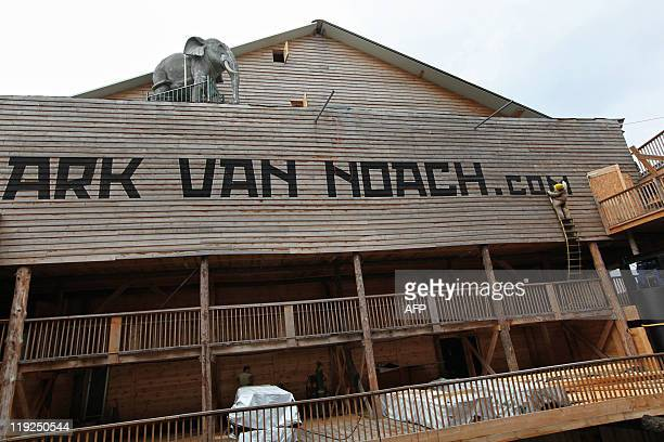 View of the 150 metrelong Noah's ark created by Dutch Johan Huibers at an old abandoned quay on the Merwede River in Dordrecht on June 21 2011 For...