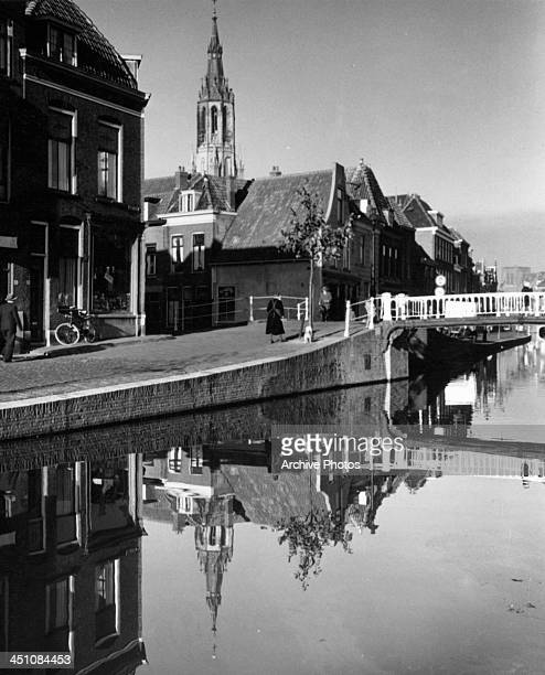 A view of the 15th Century Nieuwe Kerk in Delft Holland Circa 1950