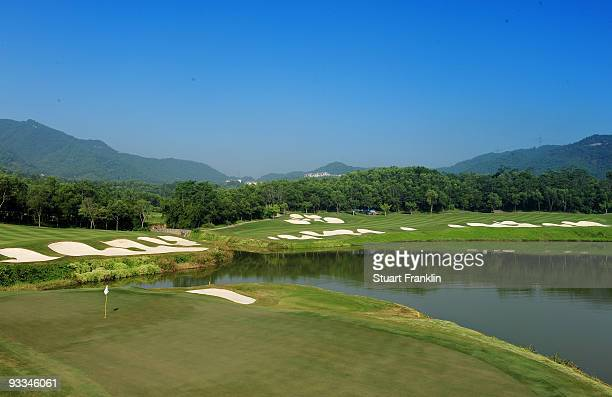 EDITORS NOTE THIS DIGITAL PHOTOGRAPHIC IMAGE WAS CREATED WITH THE USE OF A GRADUATED COLOUR FILTER A view of the 15th hole during practice for the...