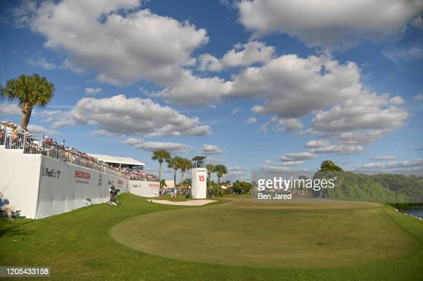 View of the 15th hole during the final round of The Honda Classic at PGA National Champion course on March 1 2020 in Palm Beach Gardens Florida