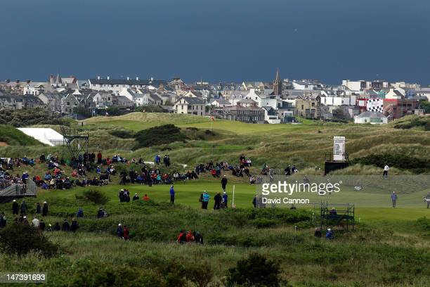 View of the 16th green with the town of Portrush behind during the first round of the 2012 Irish Open held on the Dunluce Links at Royal Portrush...