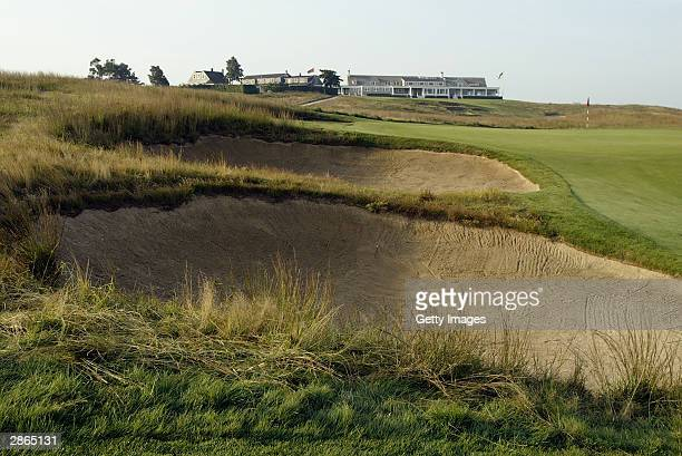 A view of the 16th hole at Shinnecock Hills Golf Club on July 22 2003 in Southampton New York Shinnecock Hills is the site of the 2004 US Open...