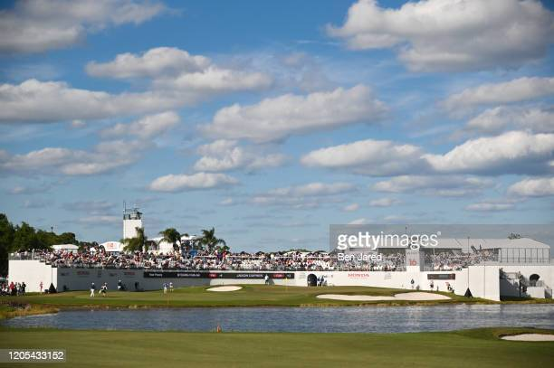 View of the 16th hole during the final round of The Honda Classic at PGA National Champion course on March 1 2020 in Palm Beach Gardens Florida