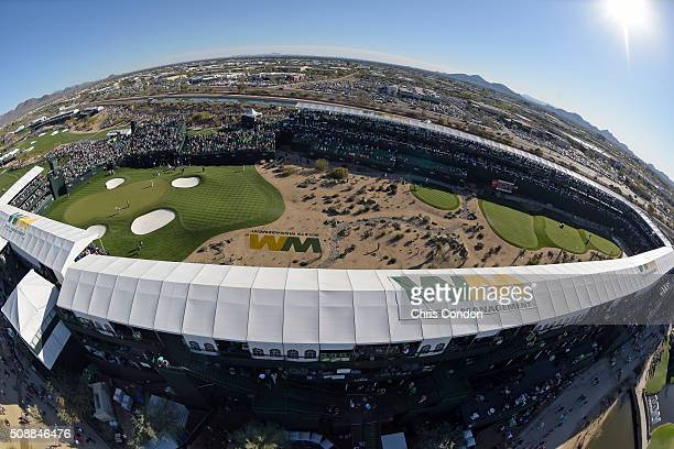 A view of the 16th hole during the third round of the Waste Management Phoenix Open at TPC Scottsdale on February 6 2016 in Scottsdale Arizona