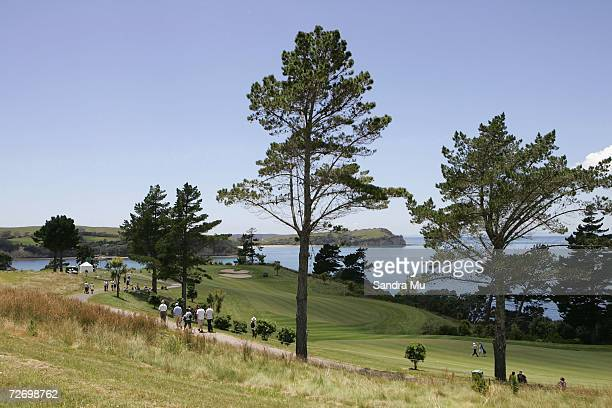 View of the 16th hole looking out to Hauraki Gulf during round three of the New Zealand Open at Gulf Harbour Country Club on the Whangaparoa...