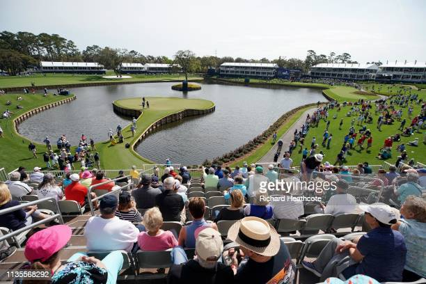 A view of the 17th green during a practice round for The PLAYERS Championship on The Stadium Course at TPC Sawgrass on March 13 2019 in Ponte Vedra...