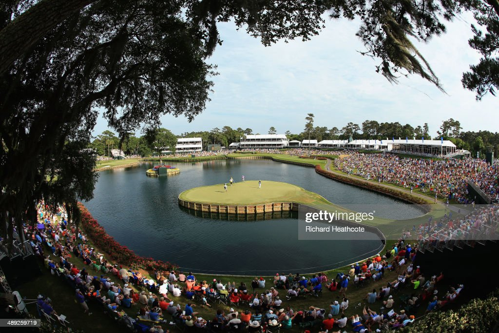 A view of the 17th green during the third round of THE PLAYERS Championship on the stadium course at TPC Sawgrass on May 10, 2014 in Ponte Vedra Beach, Florida.